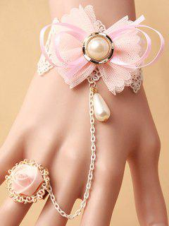 Bow Lace Bracelet With Rose Ring - Pink