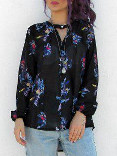 V-Neck Colourful Floral Print Long Sleeve Shirt - Black Xl