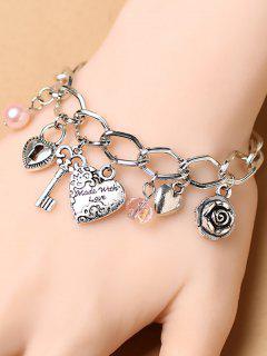 Heart Key Lock Charm Bracelet - Silver