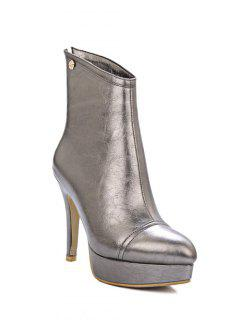 Platform Metal Pointed Toe Short Boots - Gun Metal 38