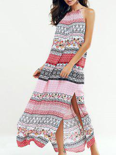 Side Slit Sleeveless Printed Maxi Dress - S