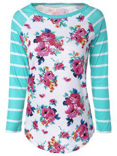Camiseta Manga Larga Rayada Floral - 2xl