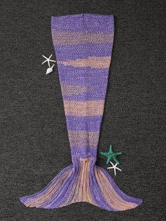 Stripe Knitted Mermaid Tail Blanket - Yellow + Purple