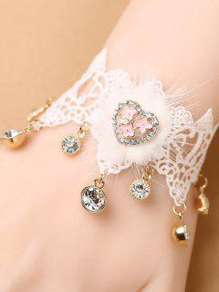 Rhinestone Heart Furry Lace Bracelet - White