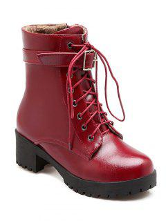 Buckle Lace-Up Round Toe Short Boots - Wine Red 37