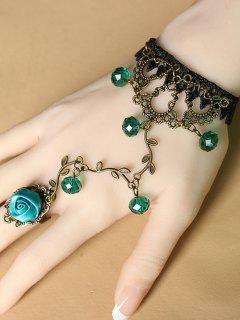 Filigree Lace Bracelet With Rose Ring - Green