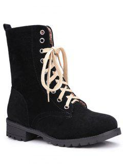 Lace-Up Solid Colour Combat Boots - Black 37