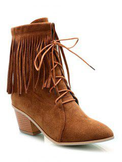 Fringe Tie Up Chunky Heel Short Boots - Brown 38