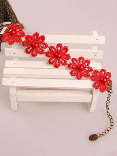 Daisy Lace Bracelet - Red