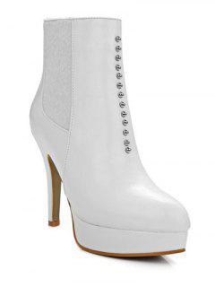 Rivet Platform Pointed Toe Short Boots - White 38
