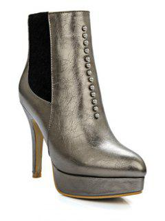 Rivet Platform Pointed Toe Short Boots - Gun Metal 38
