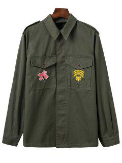 Two-Pocket Embroidered Overshirt - Army Green S