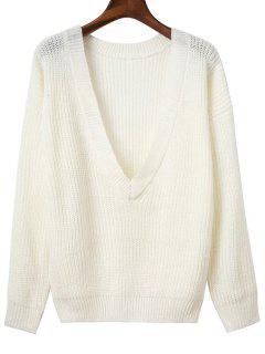 V Zurück Chunky Pullover - Weiß