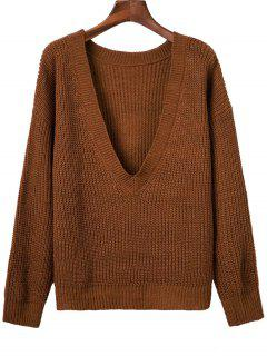 V Back Chunky Sweater - Brown