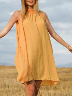Sleeveless Round Neck Ruffle Tie-Up  Dress - Deep Yellow Xl