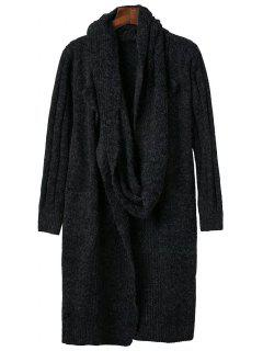 Circle Scarf Neck Open Front Cardigan - Black