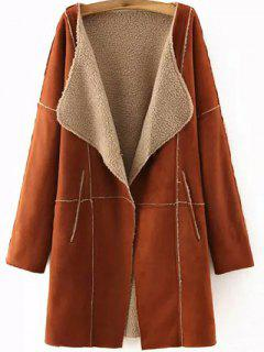 Lapel Collar Suede Coat - Deep Brown M