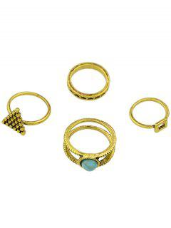 Geometric Faux Turquoise Rings - Golden One-size