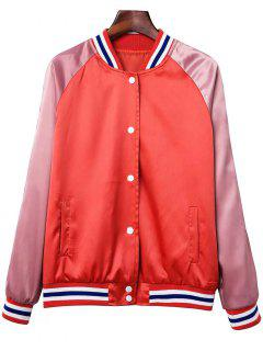 Color Block Baseball Jacket - Orange Red Xs
