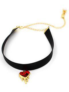 Heart Faux Ruby Choker - Black