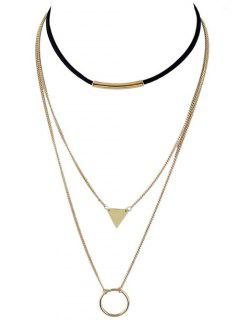 Multiayer Circle Triangle Bar Choker - Golden