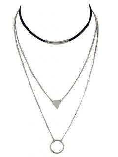 Multiayer Circle Triangle Bar Choker - Silver