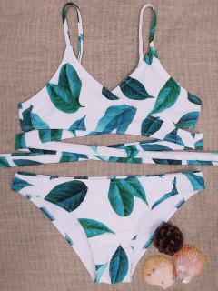 Feuille Imprimer Halter Enveloppé Bikini - Blanc M