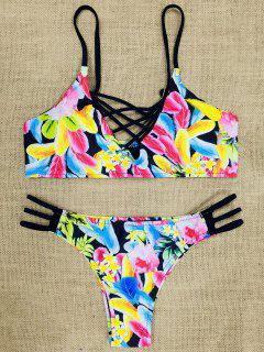 Spaghetti Strap Cut Out Strappy Floral Print Bikini - Rouge S