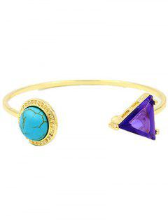 Faux Turquoise Round Cuff Bracelet - Golden