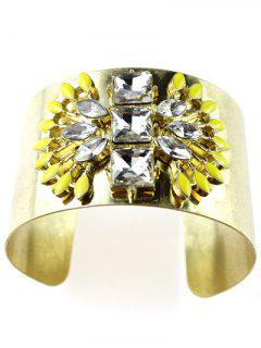 Brazalete De Imitación De Cristal Ancha - Dorado