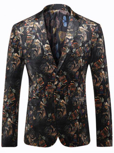 Vogel Gedruckte Brusttasche Revers Langarm-Blazer für Männer - Schwarz 3XL Mobile