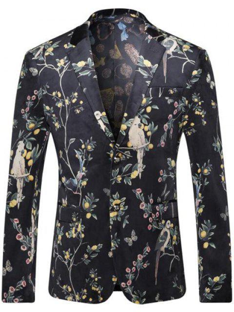 Brust-Tasche mit Blumenmuster Revers Langarm-Blazer für Männer - Schwarz XL Mobile
