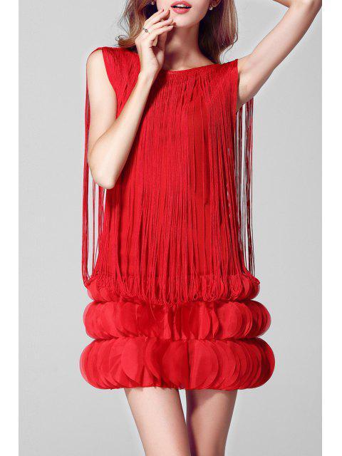 Pétalo de la borla de la etapa mini vestido - Rojo Un tamaño(Montar tam Mobile