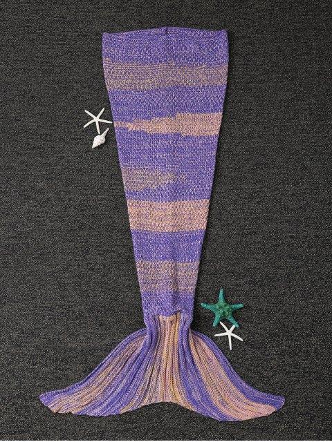 Couverture tricotée rayée forme de sirène - Jaune + Violet  Mobile