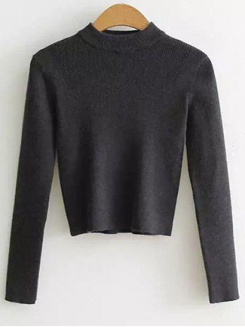 latest Mock Neck Cropped Pullover Sweater - DEEP GRAY ONE SIZE Mobile