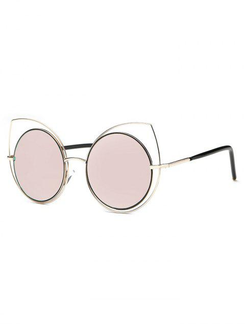 affordable Hollow Out Cat Eye Mirrored Sunglasses - PINK  Mobile