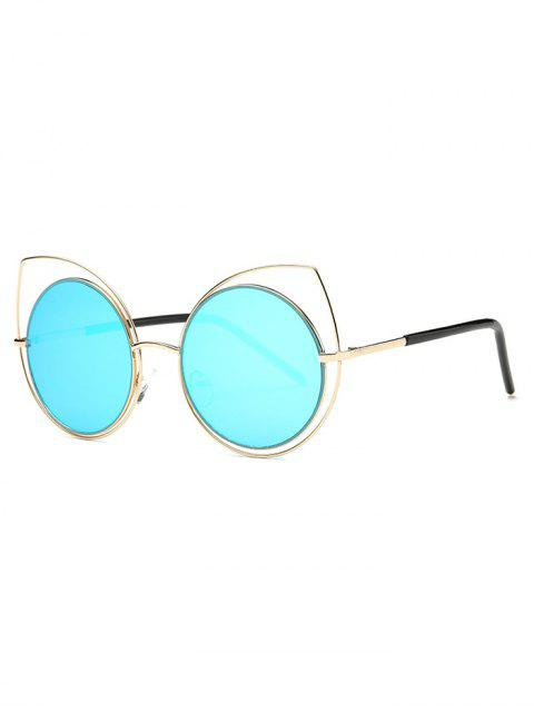 buy Hollow Out Cat Eye Mirrored Sunglasses - LIGHT BLUE  Mobile