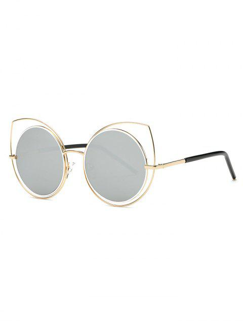 womens Hollow Out Cat Eye Mirrored Sunglasses - LIGHT GRAY  Mobile