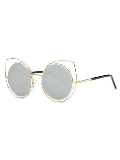Évider Cat Eye Mirrored Lunettes de soleil - Gris Clair  Mobile