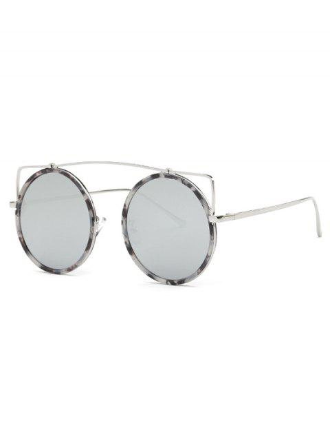 women's Crossbar Round Marble Sunglasses - SILVER  Mobile