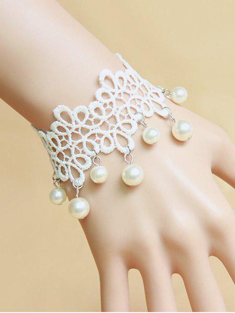 lady Faux Pearl White Lace Bracelet -   Mobile