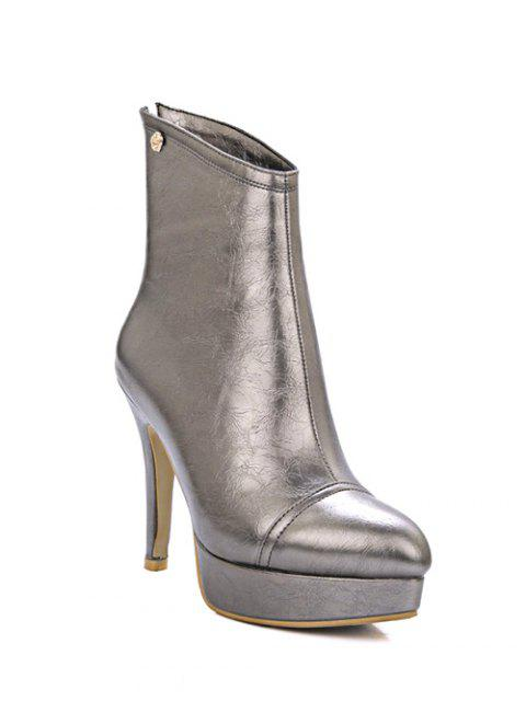 unique Platform Metal Pointed Toe Short Boots - GUN METAL 38 Mobile