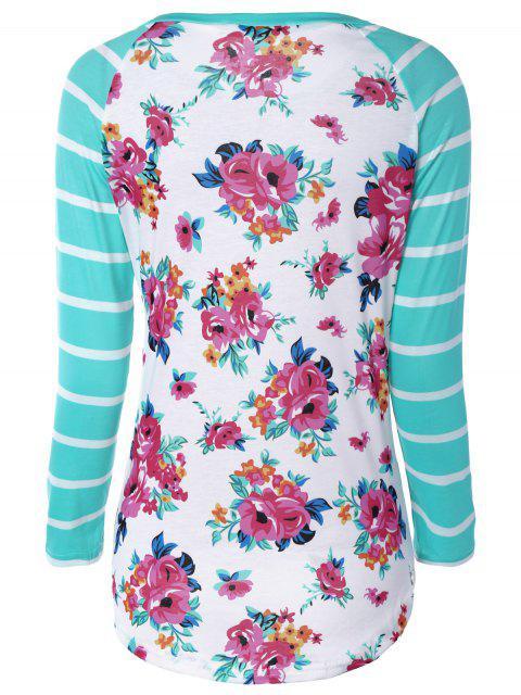 T-shirt motif floral avec manches raglan rayées - Multicolore S Mobile