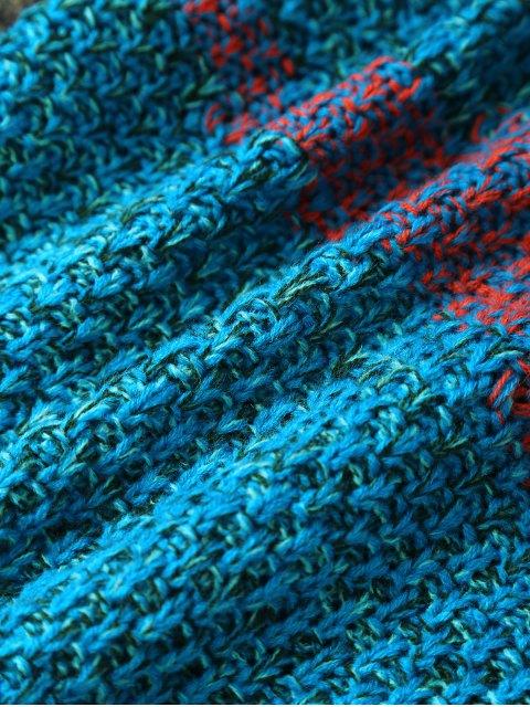 Stripe Knitted Mermaid Tail Blanket - Bleu et Orange  Mobile