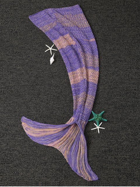 shop Stripe Knitted Mermaid Tail Blanket - YELLOW + PURPLE  Mobile