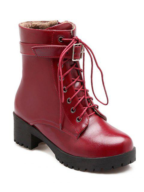lady Buckle Lace-Up Round Toe Short Boots - WINE RED 37 Mobile