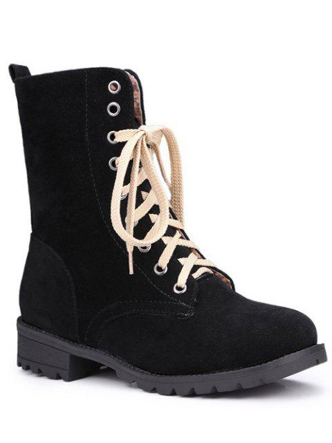 hot Lace-Up Solid Colour Combat Boots -   Mobile