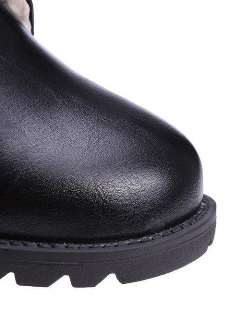 shops Black Color Lace-Up Combat Boots - BLACK 38 Mobile