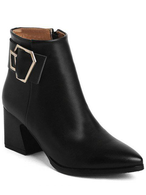 sale Buckle Strap Pointed Toe Ankle Boots - BLACK 39 Mobile