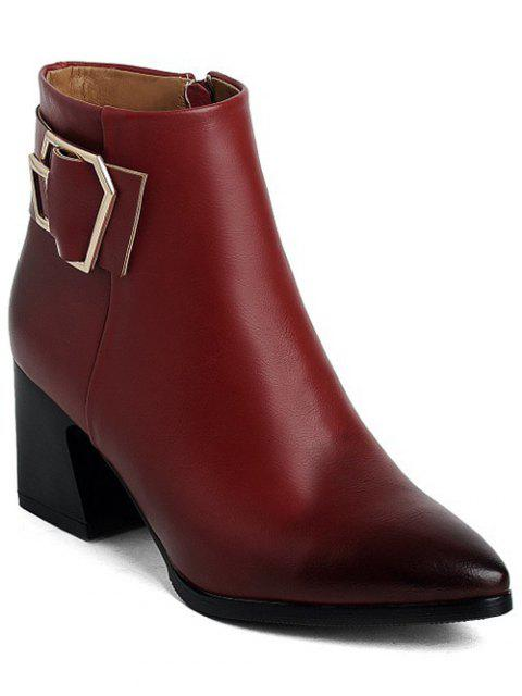 women's Buckle Strap Pointed Toe Ankle Boots - WINE RED 38 Mobile